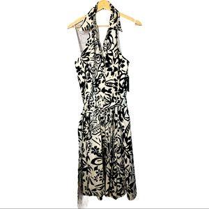 lennie by Nina Leonard halter style smocked dress
